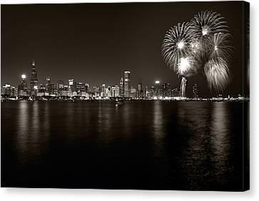 Chicago Skyline Fireworks Bw Canvas Print by Steve Gadomski