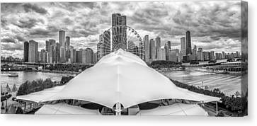 Chicago Skyline From Navy Pier Black And White Canvas Print by Adam Romanowicz