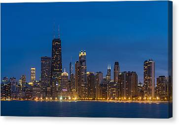 Historic Architecture Canvas Print - Chicago Skyline From North Ave Beach by Steve Gadomski