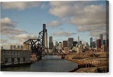 Canvas Print featuring the photograph Chicago Skyline From The South Branch by Sheryl Thomas