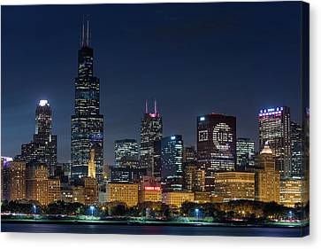 Canvas Print featuring the photograph Chicago Skyline Go Gubs  by Emmanuel Panagiotakis