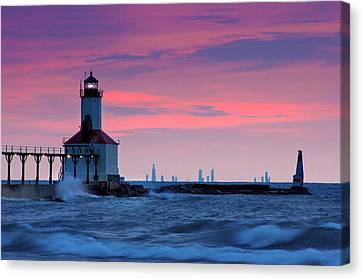 Indiana Landscapes Canvas Print - Chicago Skyline Lighthouse by Jackie Novak