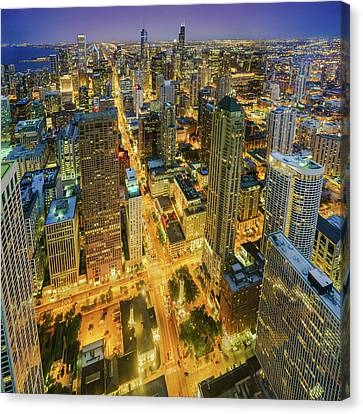 Chicago Skyline Magnificent Mile At Night Canvas Print by Scott Campbell