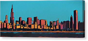 Chicago Skyline Pop Art Panorama Canvas Print