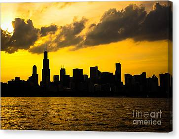 Chicago Skyline Sunset Silhouette Canvas Print