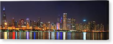 Chicago Skyline With Cubs World Series Lights Night, Chicago, Cook County, Illinois,  Canvas Print by Panoramic Images
