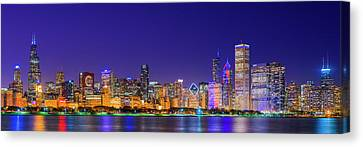 Chicago Skyline With Cubs World Series Lights Night, Lake Michigan, Chicago, Cook County, Illinois Canvas Print by Panoramic Images