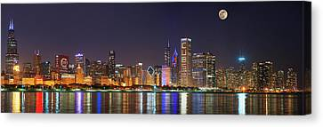 Chicago Skyline With Cubs World Series Lights Night, Moonrise, Chicago, Cook County, Illinois, Usa Canvas Print by Panoramic Images