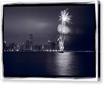Chicago Skyline With Fireworks Canvas Print by Steve Gadomski