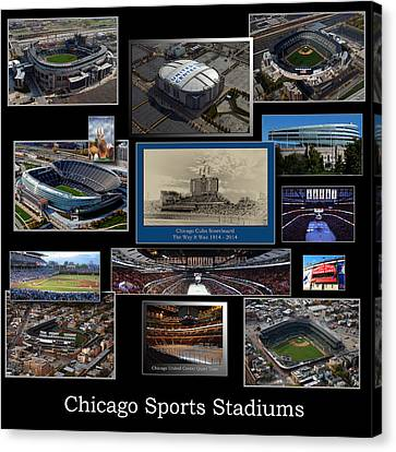 Coller Canvas Print - Chicago Sports Collage 03 Blk by Thomas Woolworth