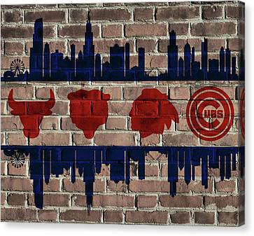 Chicago Sports Team Flag On Brick Canvas Print