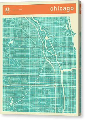 Chicago Street Map Canvas Print by Jazzberry Blue