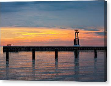 Canvas Print featuring the photograph Chicago Sunrise At North Ave. Beach by Adam Romanowicz