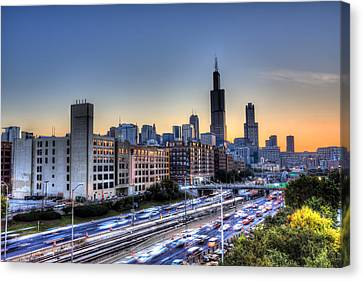 Canvas Print featuring the photograph Chicago Sunrise Rush Hour by Shawn Everhart