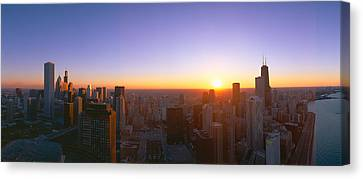 Chicago Sunset, Aerial View, Illinois Canvas Print by Panoramic Images