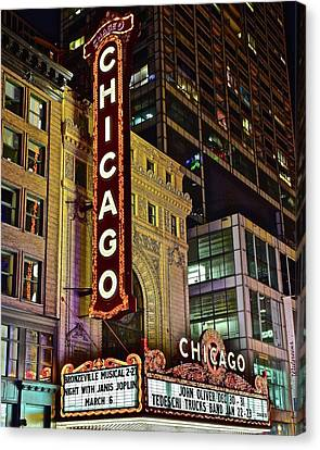 Chicago Theater Aglow Canvas Print by Frozen in Time Fine Art Photography