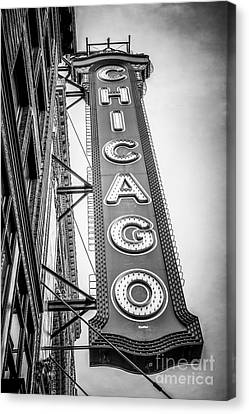 Chicago Theater Sign Black And White Picture Canvas Print by Paul Velgos