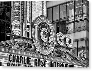 Chicago Theatre Marquee Black And White Canvas Print
