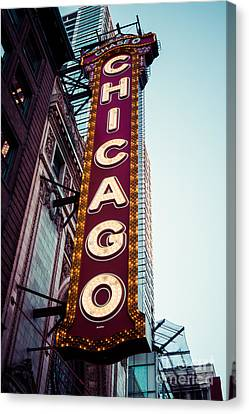 Chicago Theatre Marquee Sign Vintage Canvas Print by Paul Velgos