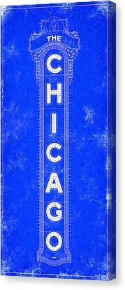 Chicago Theatre Sign - Blueprint Canvas Print by Mark Tisdale