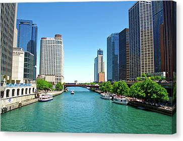 Chicago Tour Boats Parked On The River Canvas Print by Thomas Woolworth