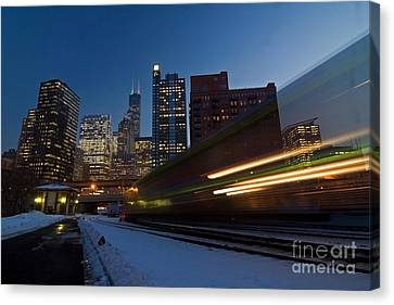 Chicago Train Blur Canvas Print by Sven Brogren