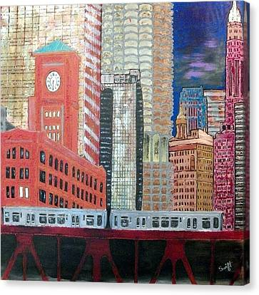 Chicago Train Cityscape Canvas Print by Char Swift