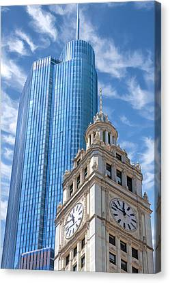 Canvas Print featuring the painting Chicago Trump And Wrigley Towers by Christopher Arndt