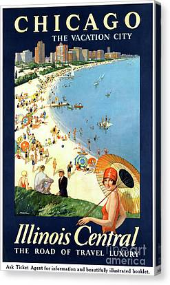 Chicago Vacation City Vintage Poster Restored Canvas Print by Carsten Reisinger