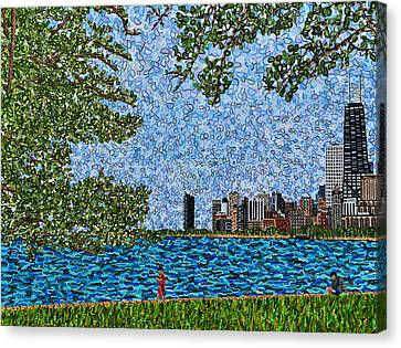 Chicago - View From Lakefront Trail Canvas Print by Micah Mullen