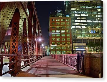 Chicago Walkway At Night Canvas Print
