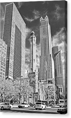 Chicago Water Tower Shopping Black And White Canvas Print