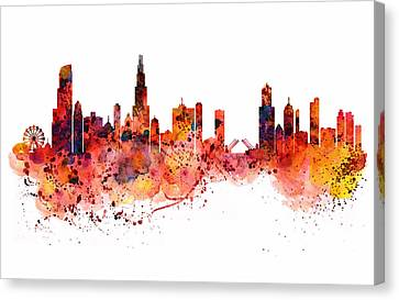 Chicago Watercolor Skyline Canvas Print by Marian Voicu