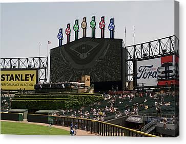 Chicago White Sox Bw Scoreboard Canvas Print