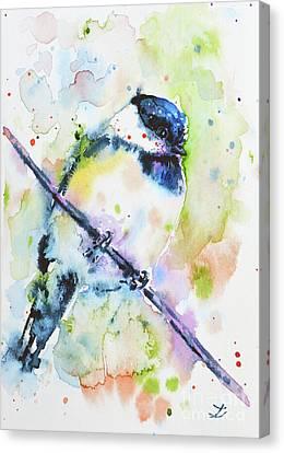 Canvas Print featuring the painting Chick-a-dee-dee-dee by Zaira Dzhaubaeva