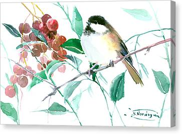 Chickadee And Berries Canvas Print by Suren Nersisyan