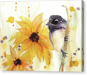 Canvas Print featuring the painting Chickadee And Sunflowers by Dawn Derman