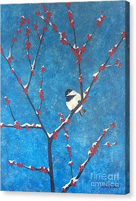 Canvas Print featuring the painting Chickadee Bird by Denise Tomasura