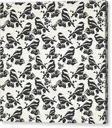 Chickadee Bird Pattern Canvas Print