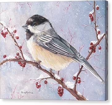 Chickadee Dee Dee Canvas Print by Shana Rowe Jackson