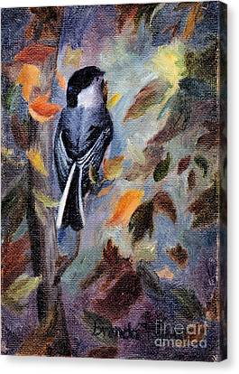 Canvas Print featuring the painting Chickadee In The Fall by Brenda Thour