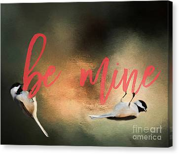 Canvas Print featuring the photograph Chickadee Love by Darren Fisher