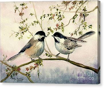 Chickadee Love Canvas Print by Melly Terpening