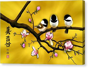 Chickadee On Blooming Magnolia Branch Canvas Print by John Wills