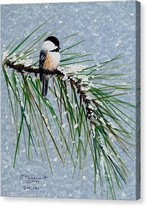 Chickadee Set 8 - Bird 1 - Snow Chickadees Canvas Print by Kathleen McDermott