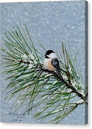 Chickadee Set 8 - Bird 2 - Snow Chickadees Canvas Print