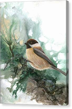 Canvas Print featuring the painting Chickadee by Sherry Shipley