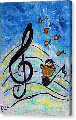 Chickadee Song Bird Canvas Print by Ella Kaye Dickey