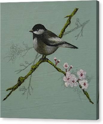 Chickadee Canvas Print by Victoria Heryet