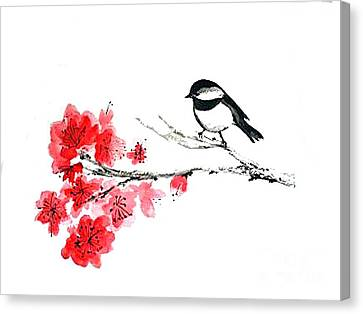 Canvas Print featuring the painting Chickadee With Plum Blossom by Sibby S